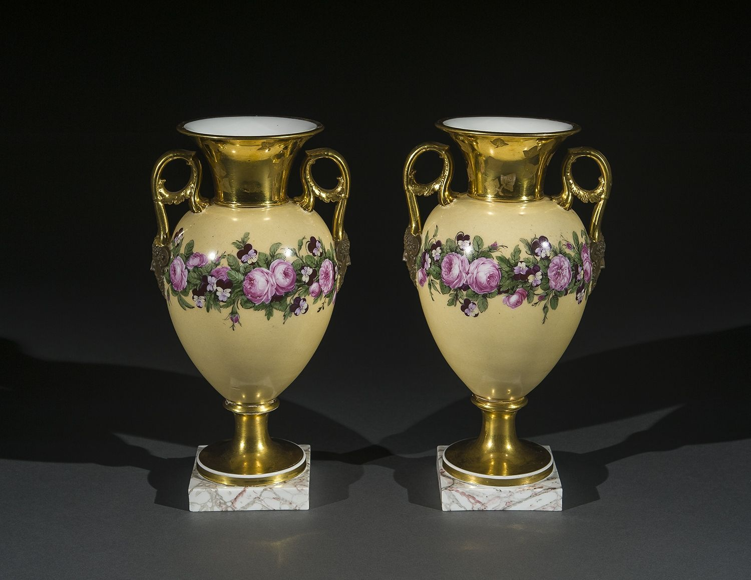 """Pair """"Old Paris"""" Porcelain Vases with Yellow Ground and Garlands of Flowers,about 1816–20Dagoty & Honoré, ParisPorcelain, painted and gilded, with iron tie-rods (for assembly)11 3/8 in. high"""