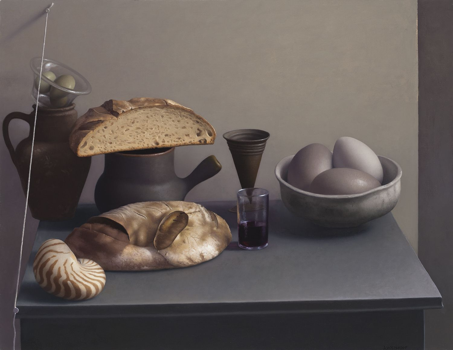 Amy Weiskopf  (b.1957), Still Life with Bread, Shell and Eggs, 2016