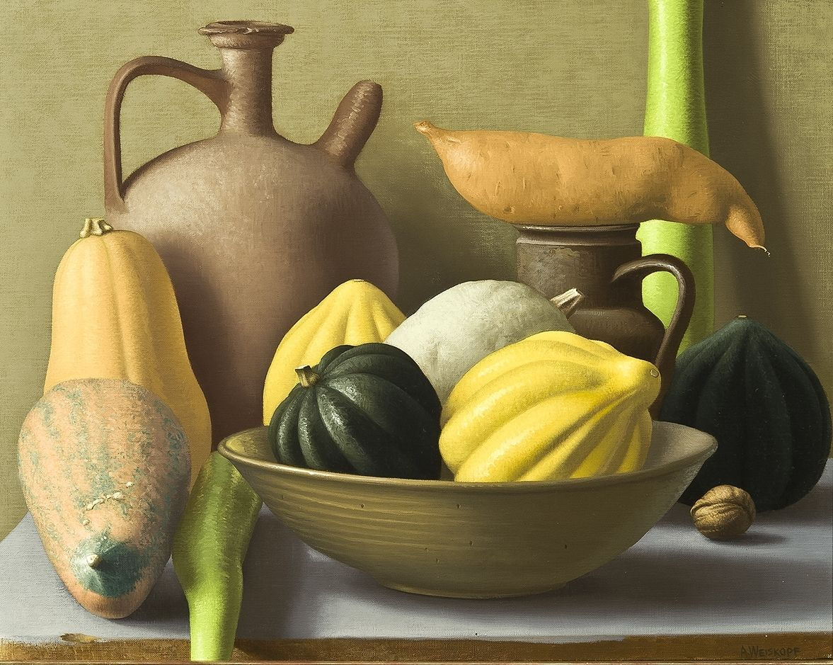Amy Weiskopf's Still Life with Squash, oil on linen, 16 by 20 inches, painted in 1999.