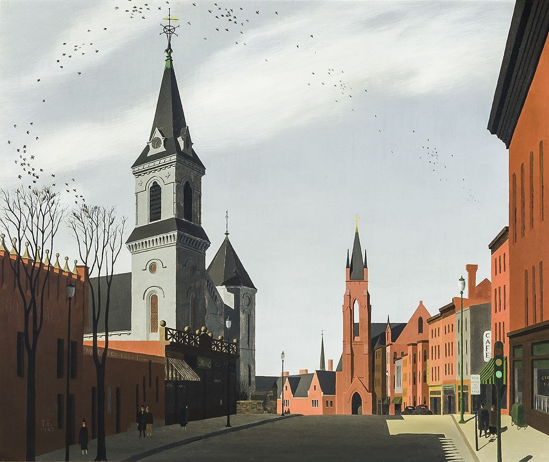 THOMAS FRANSIOLI (1906–1997). Harvard Street, Brookline, Massachusetts, 1948. Oil on Masonite, 18 x 21 1/2 in.