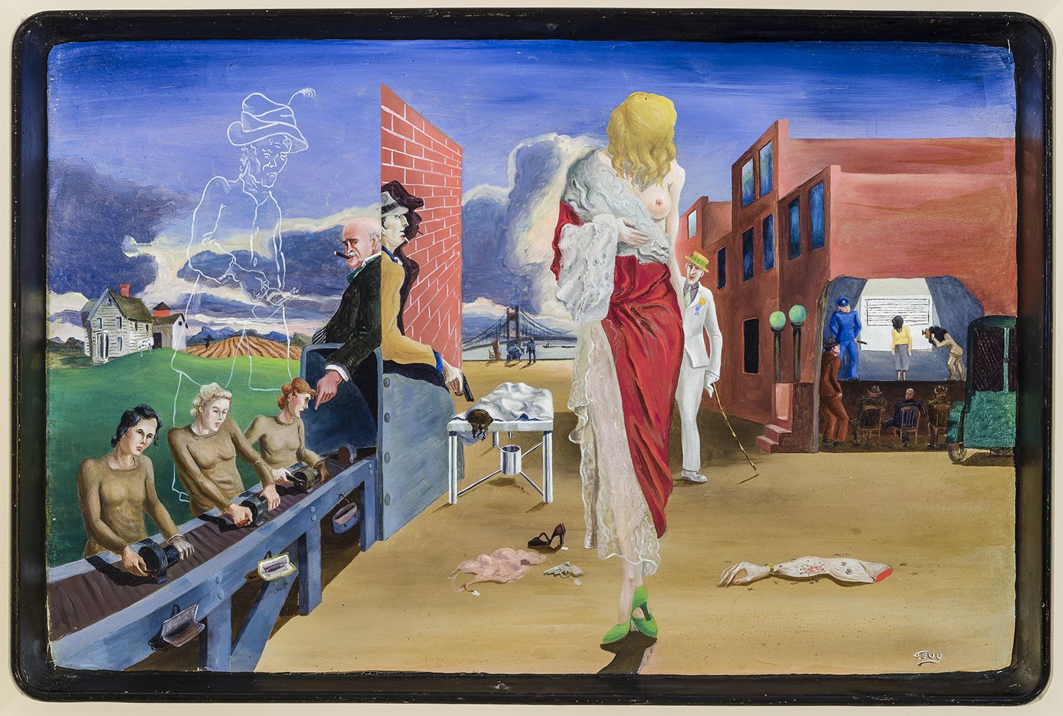 James Guy (1909–1983). Dead End, about 1939. Oil on metal tray, 11 3/4 x 17 3/4 in.