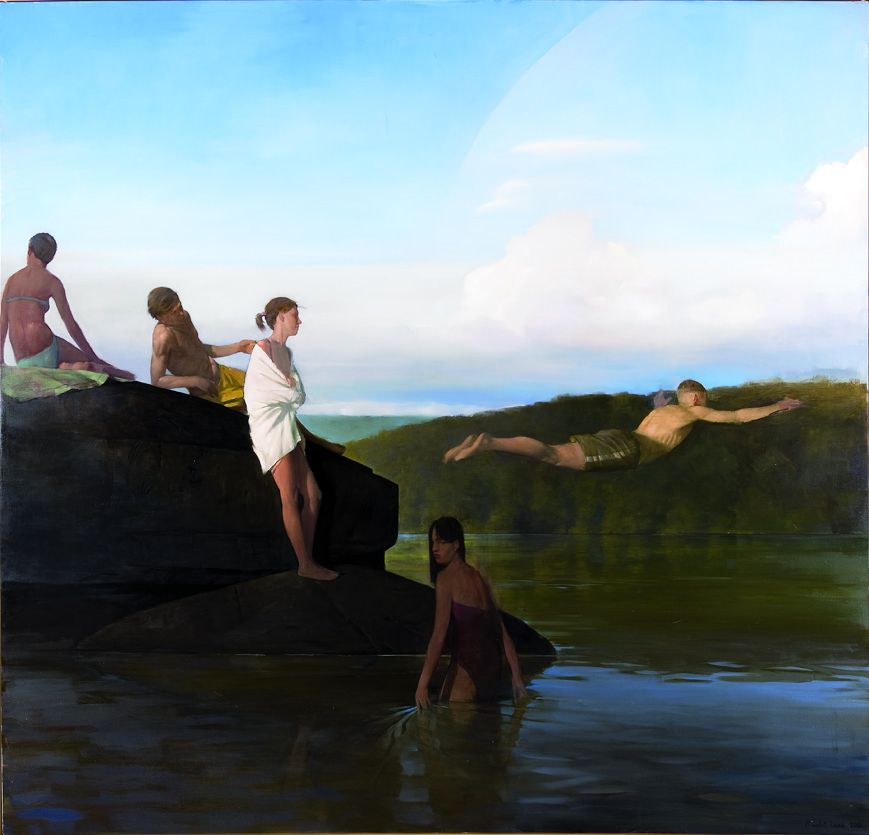 Indian Steps, 2012, Oil on linen, 68 x 72 in.
