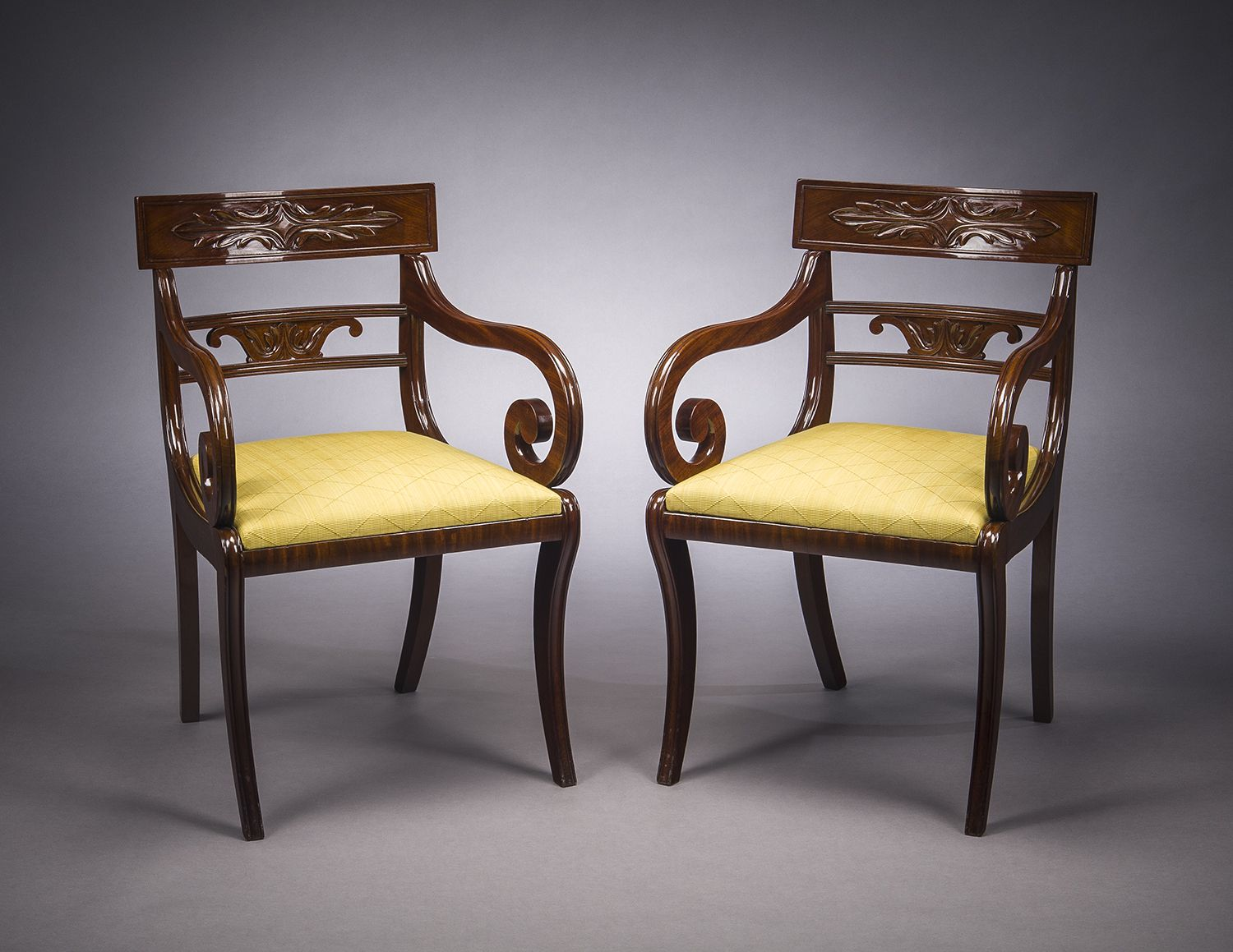 Pair Klismos-form Armchairs, about 1820