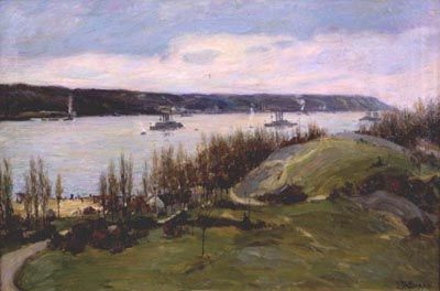 Joseph Henry Sharp (1859-1953), The Flagships Connecticut and Kansas on the Hudson, 1910