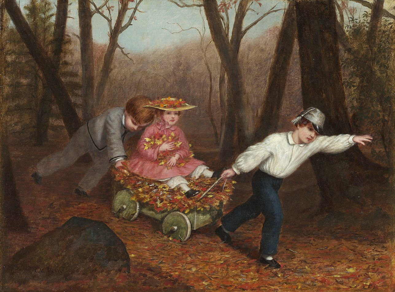 Enoch Wood Perry, Jr. (1831-1915), Collecting Autumn Leaves, 1868