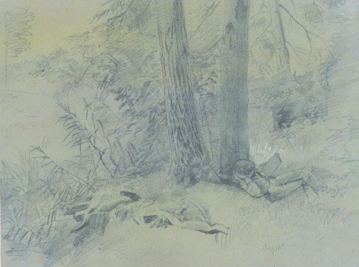 William Trost Richards (1833-1905), Figure Reading, 1859