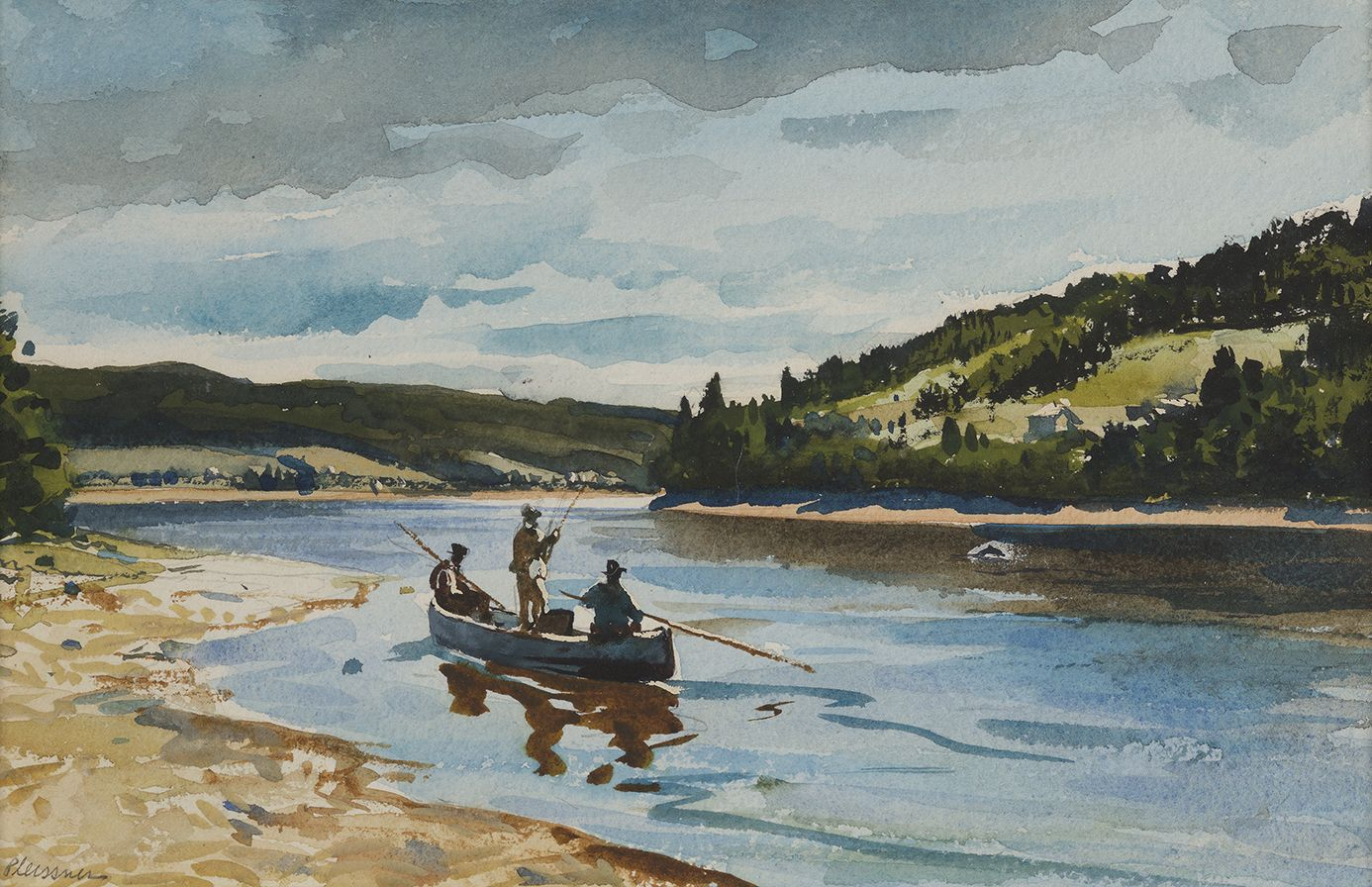 Ogden Minton Pleissner (1905-1983), Salmon Fishing on the Restigouche