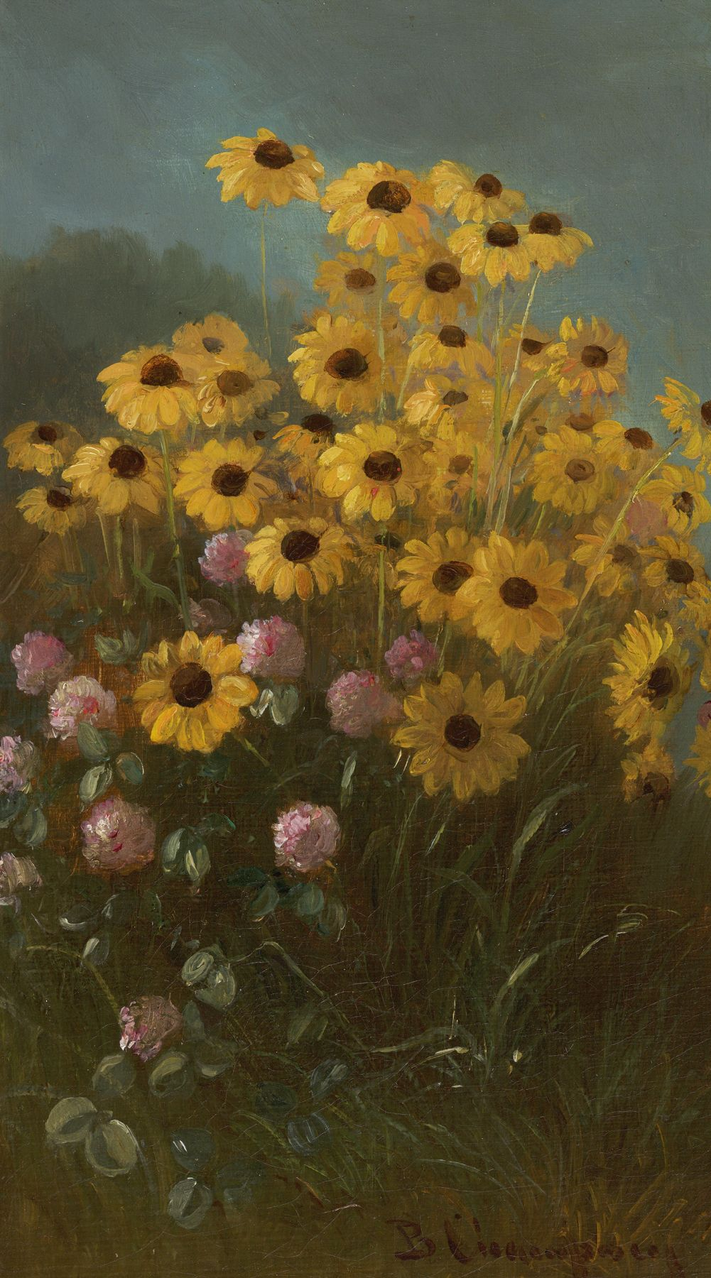 Benjamin Champney (1817-1907), Still Life with Black-Eyed Susans and Clover