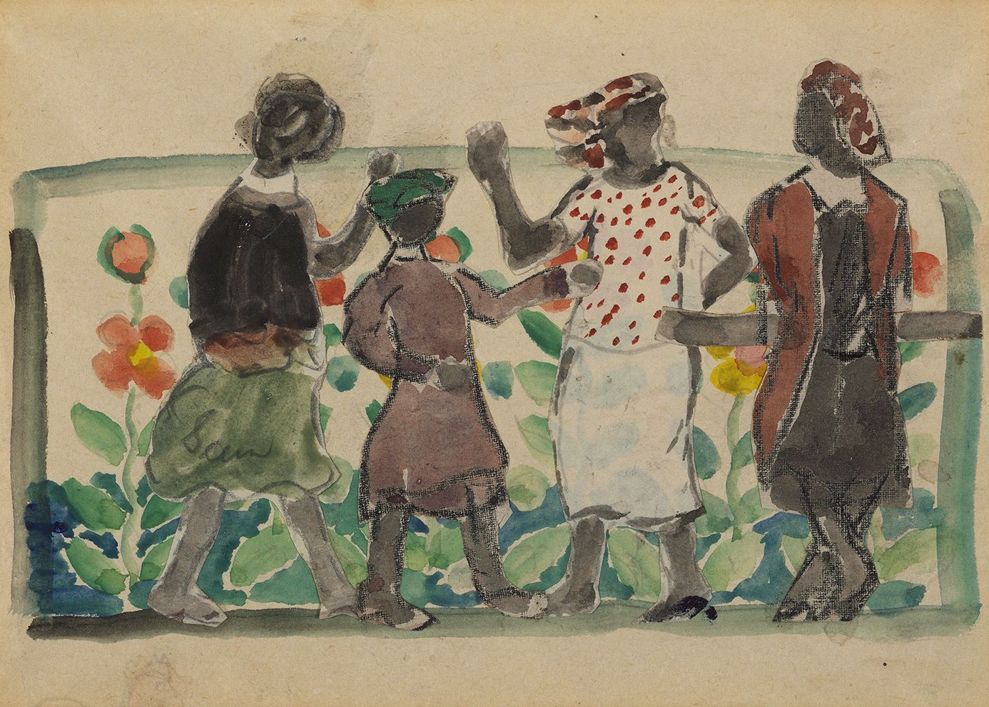 Charles Prendergast (1863-1948), Frieze of Figures, Florida, circa 1946-1947