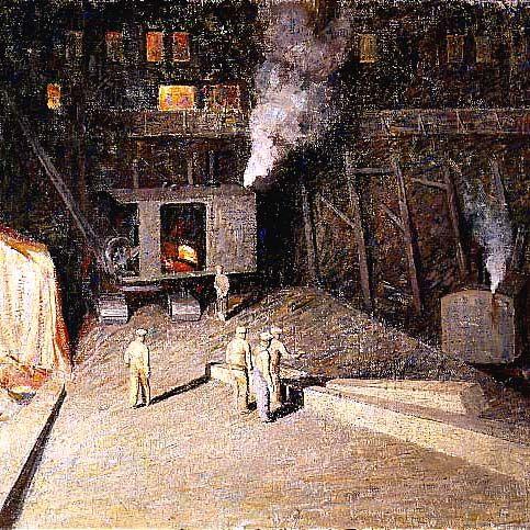 Dines Carlsen (1901-1966), Night Construction Gang, New York