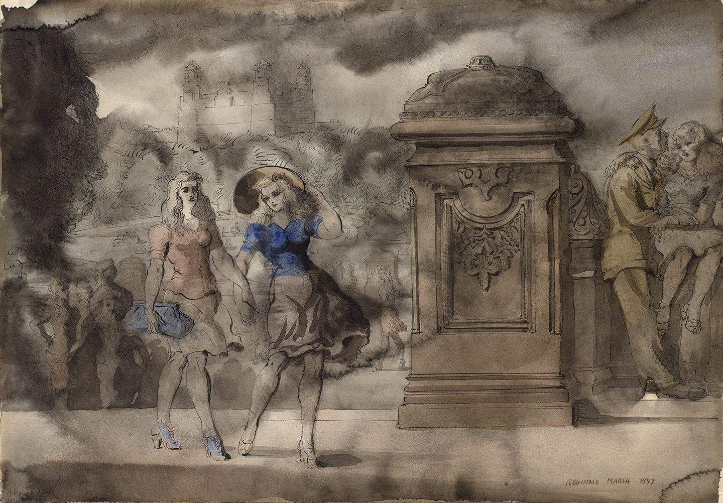 Reginald Marsh (1898-1954), Walking in the Park, 1943