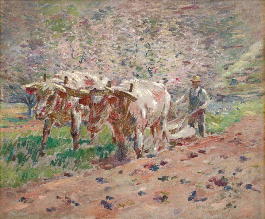Theodore Robinson (1852-1896), Springtime, Vermont (Oxen Ploughing), 1895