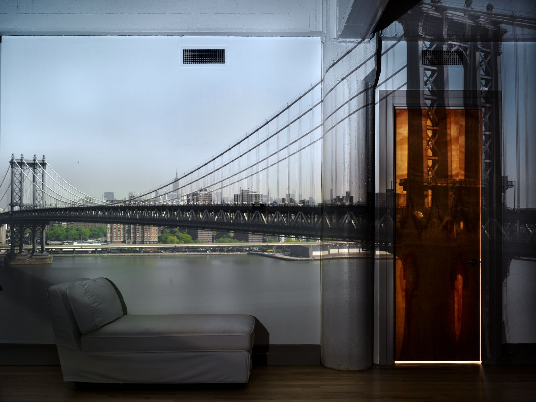 Abelardo Morell, Camera Obscura: View of the Manhattan Bridge, April 30th, Morning, 2010