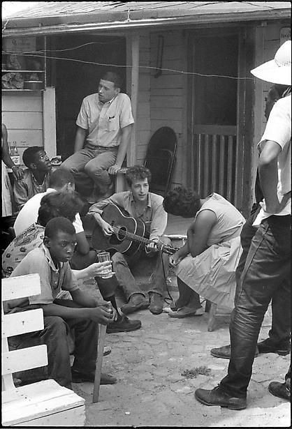 danny lyon Bob Dylan behind the SNCC office Greenwood Mississippi