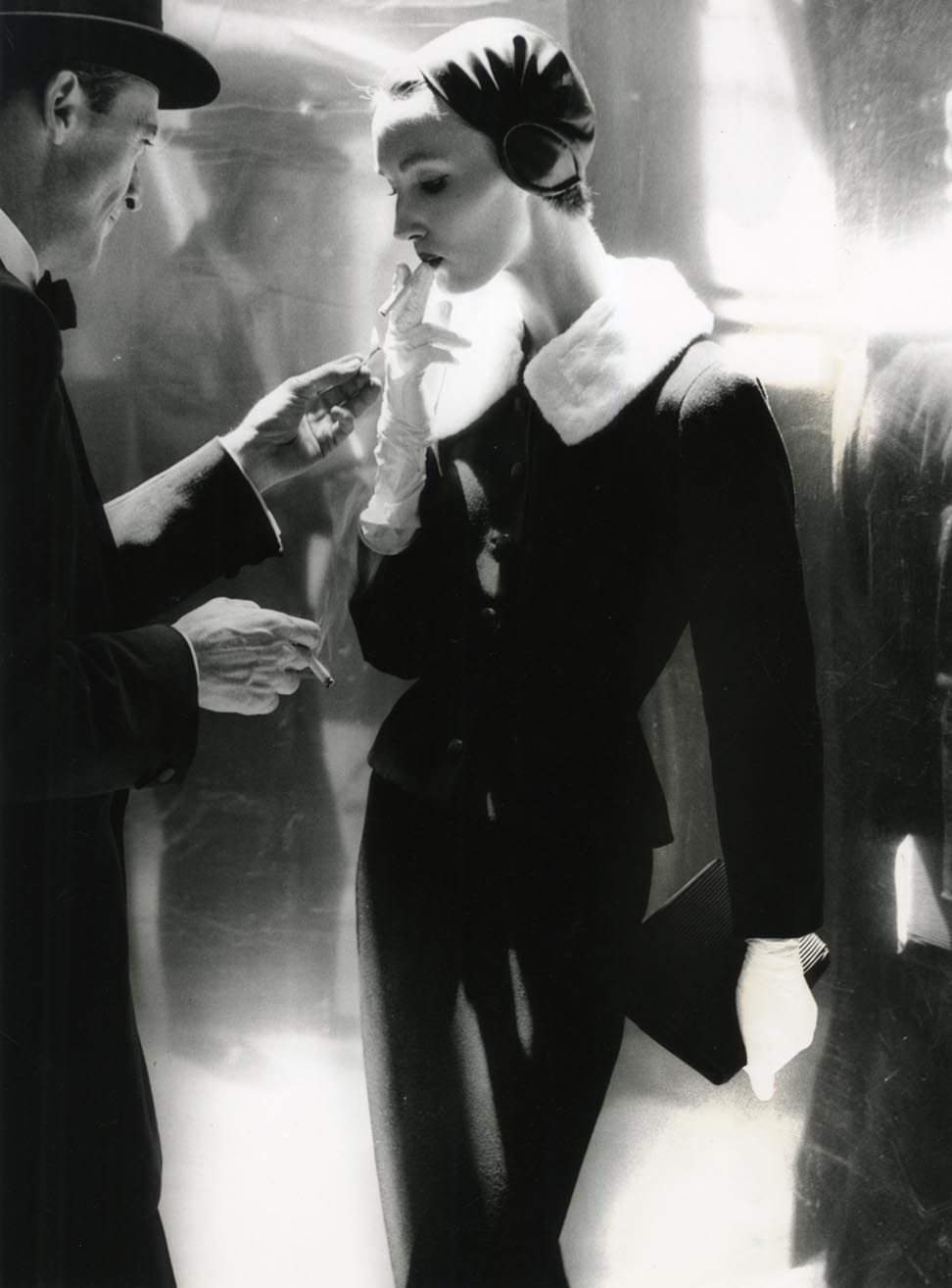 Lillian Bassman By Night, Shining Wool and Towering Heel, Evelyn Tripp, Suit by Handmacher, New York, Harper's Bazaar