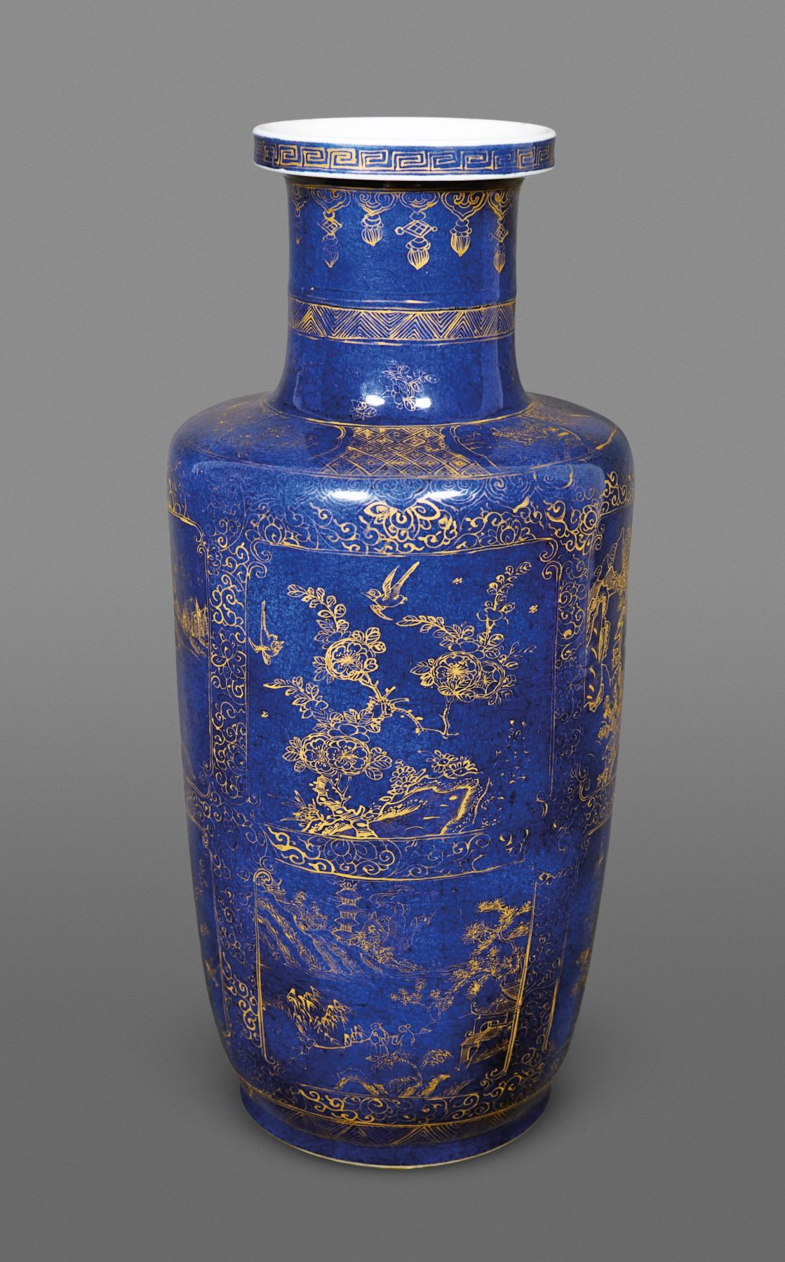 Fine Chinese Powder Blue Glazed Porcelain Rouleau Vase