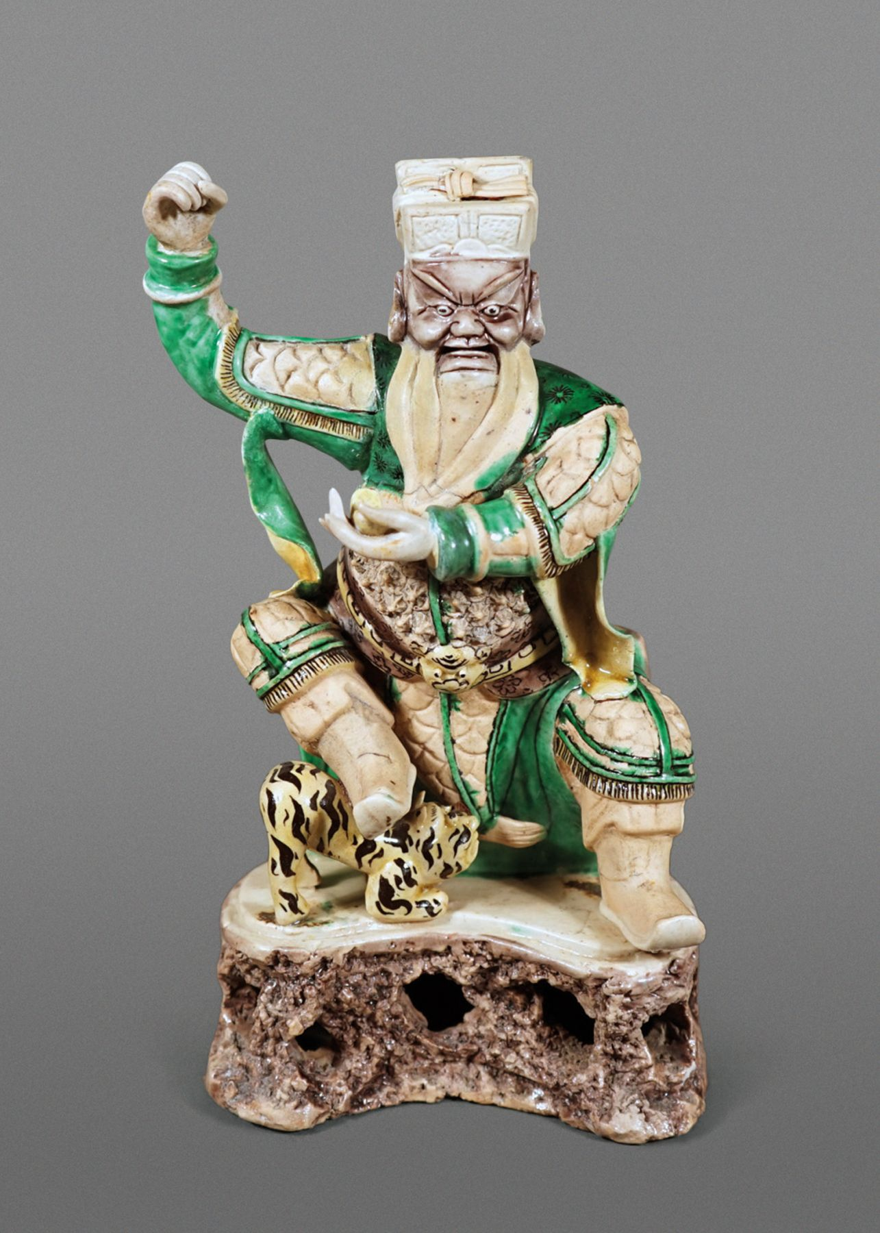 Fine and Rare Chinese Verte Glazed Biscuit Porcelain Figure of Cai Shenyi