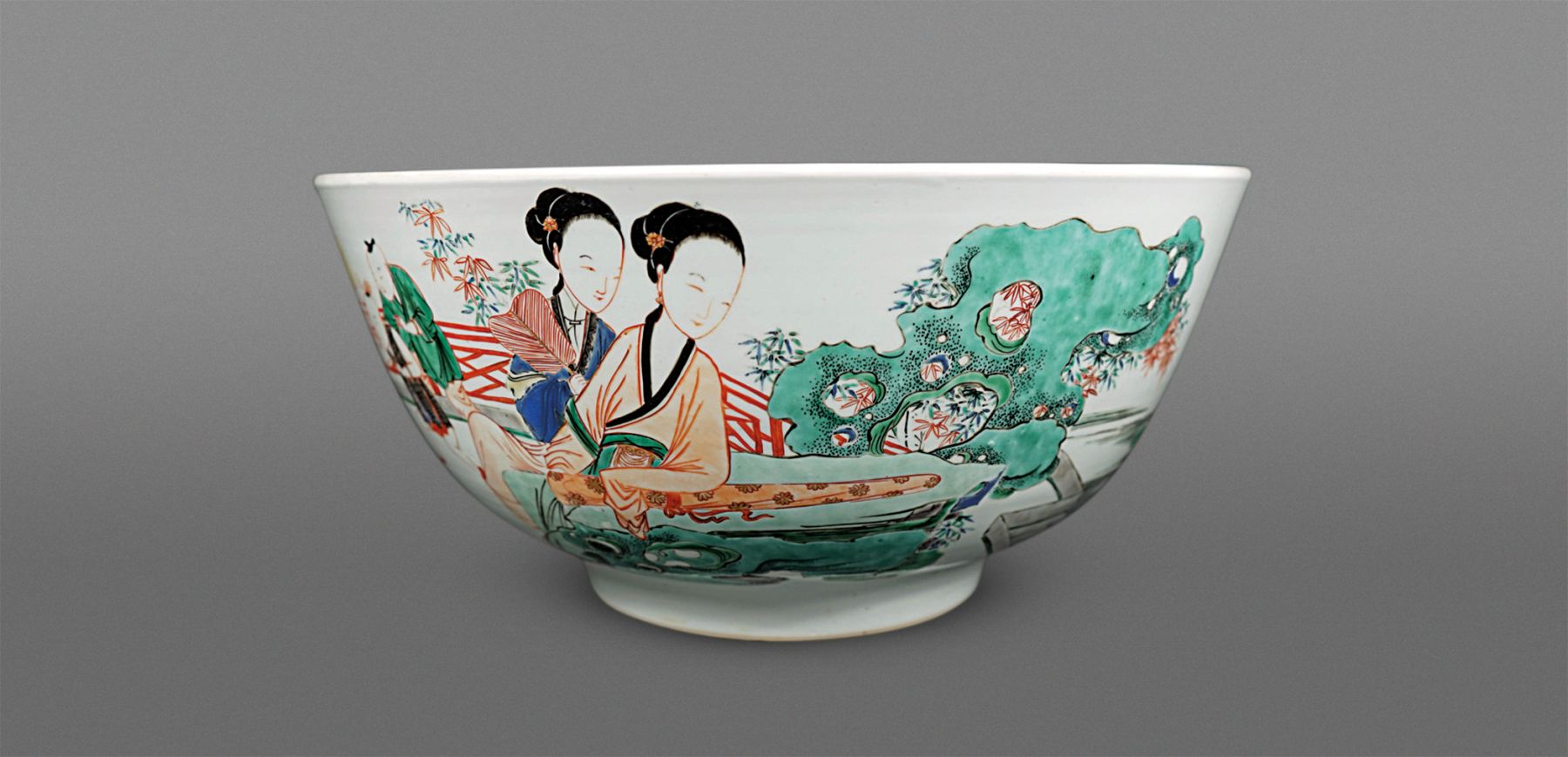 Fine and Rare Chinese Large Famille Verte Porcelain Bowl