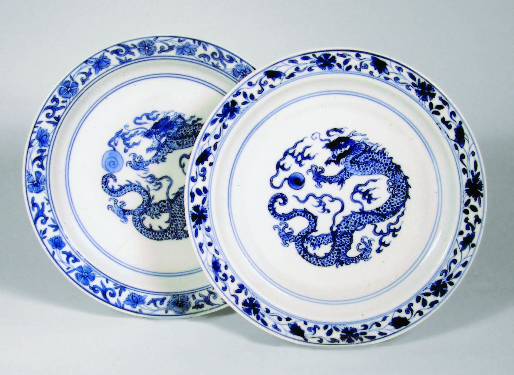 Pair of Chinese Blue and White Porcelain Dragon Dishes