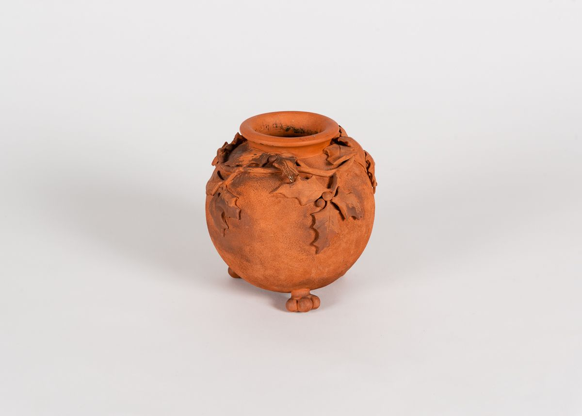 Footed Vase with Holly Vine Reliefs