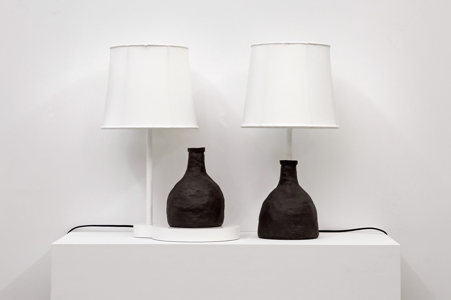 A Pair of Lamps With Bronze Vases Cast From a Vase I Bought a Long Time Ago, 2018, Bronze, enamel on poplar, steel, fabric