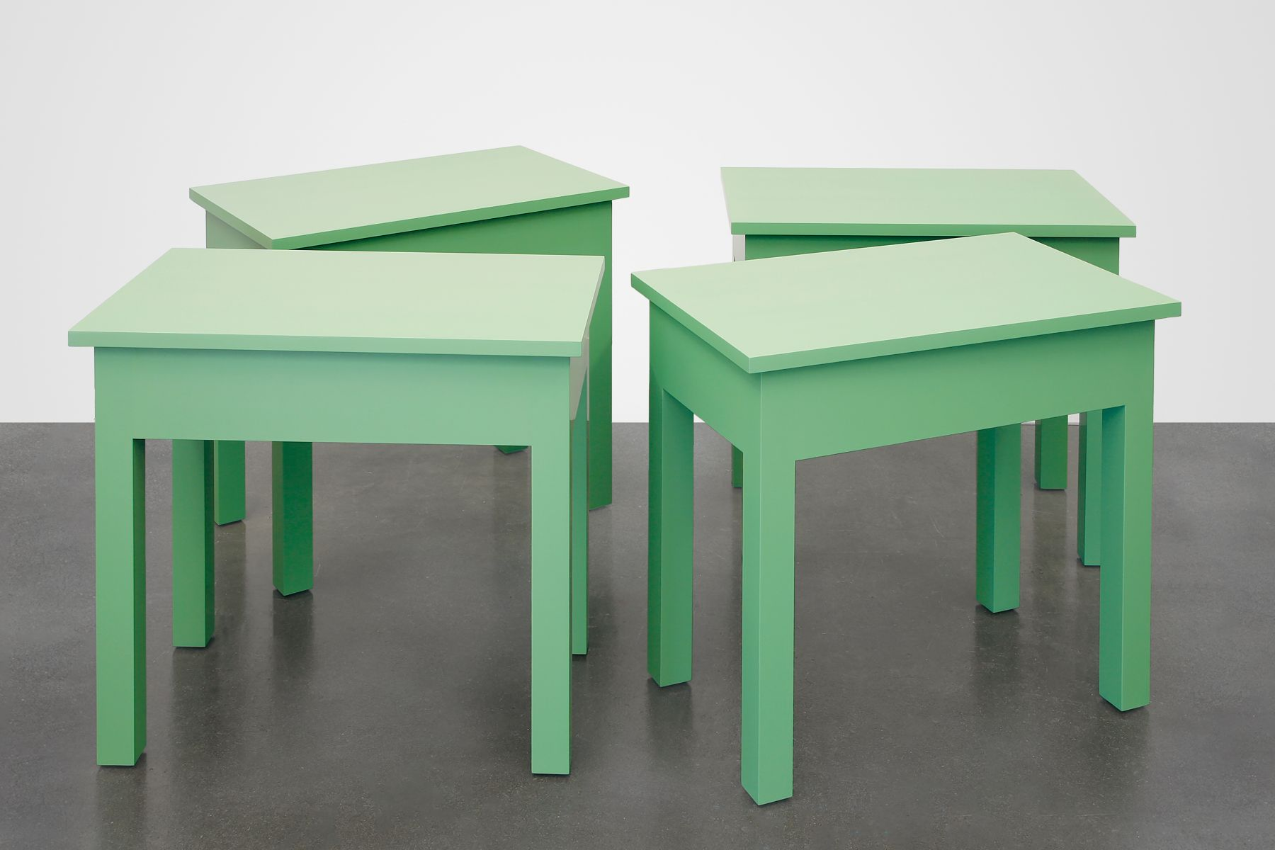 Four Green Tables (one to be used in my new home, one to be sold by a gallery and used as a table in the purchaser's home, one to be acquired by an Institution to be conserved in original condition, one to be donated anonymously to a thrift store), 2016, Enamel on eastern maple