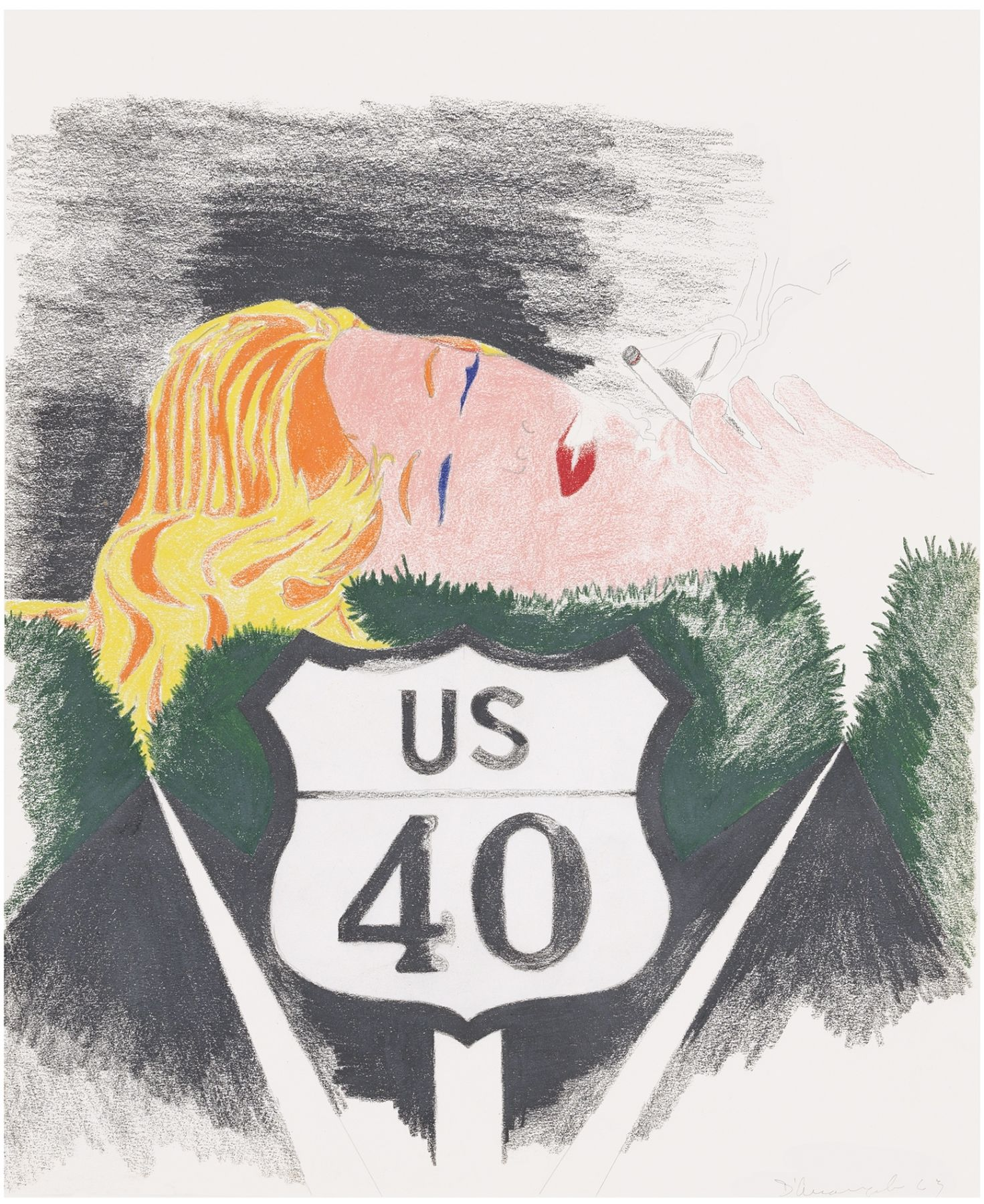 US Route 40 sign on road with woman smoking cigarette