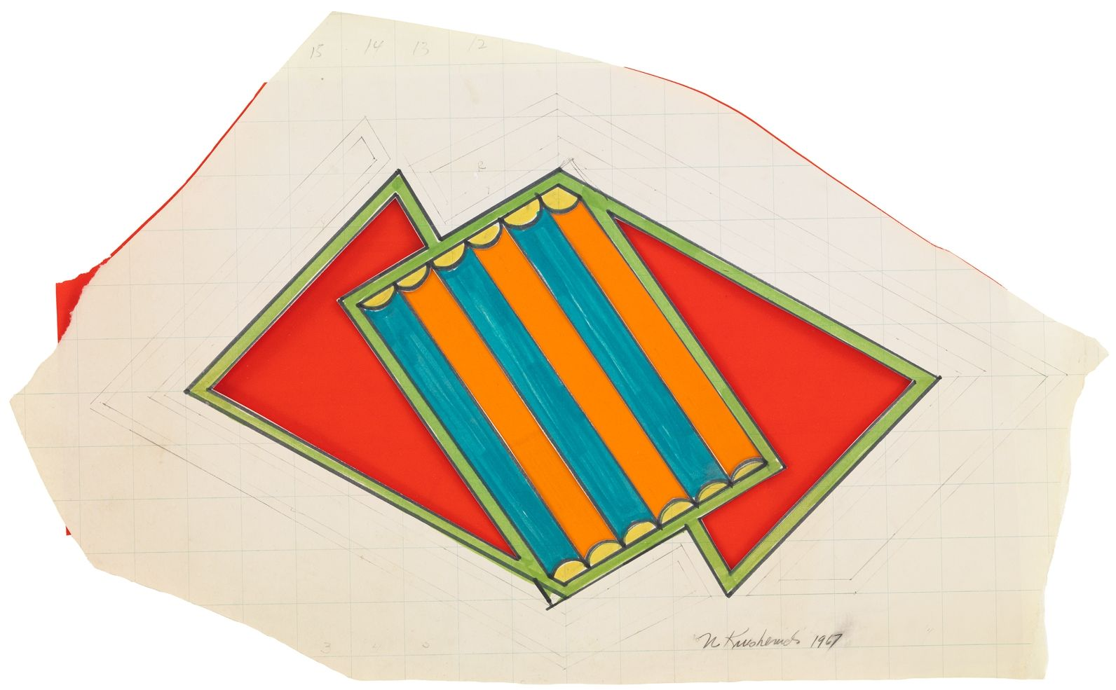 Geometric drawing with two red triangles and blue and orange striped rectangle