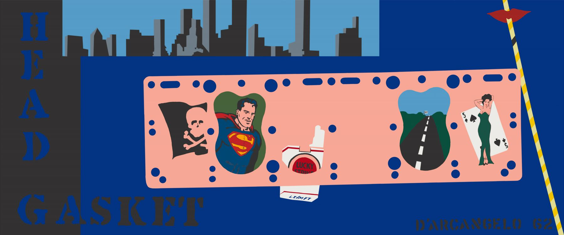 "Blue and pink abstracted painting of cityscape, with image of cigarettes, skull and cross bones, superman, with text ""Head Gasket' on Left of canvas"
