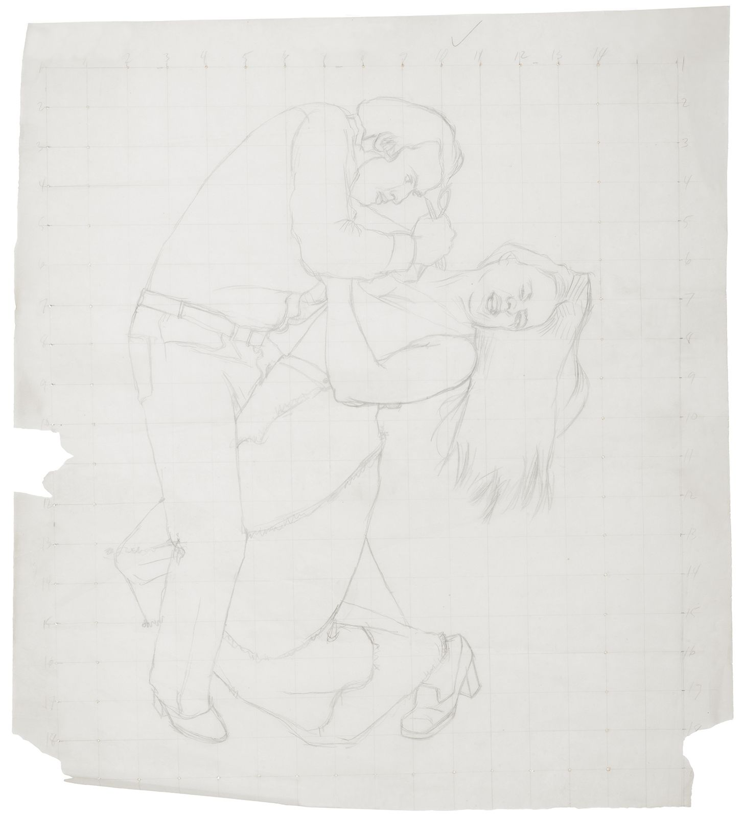 Drawing of man stabbing woman in the clavicle area