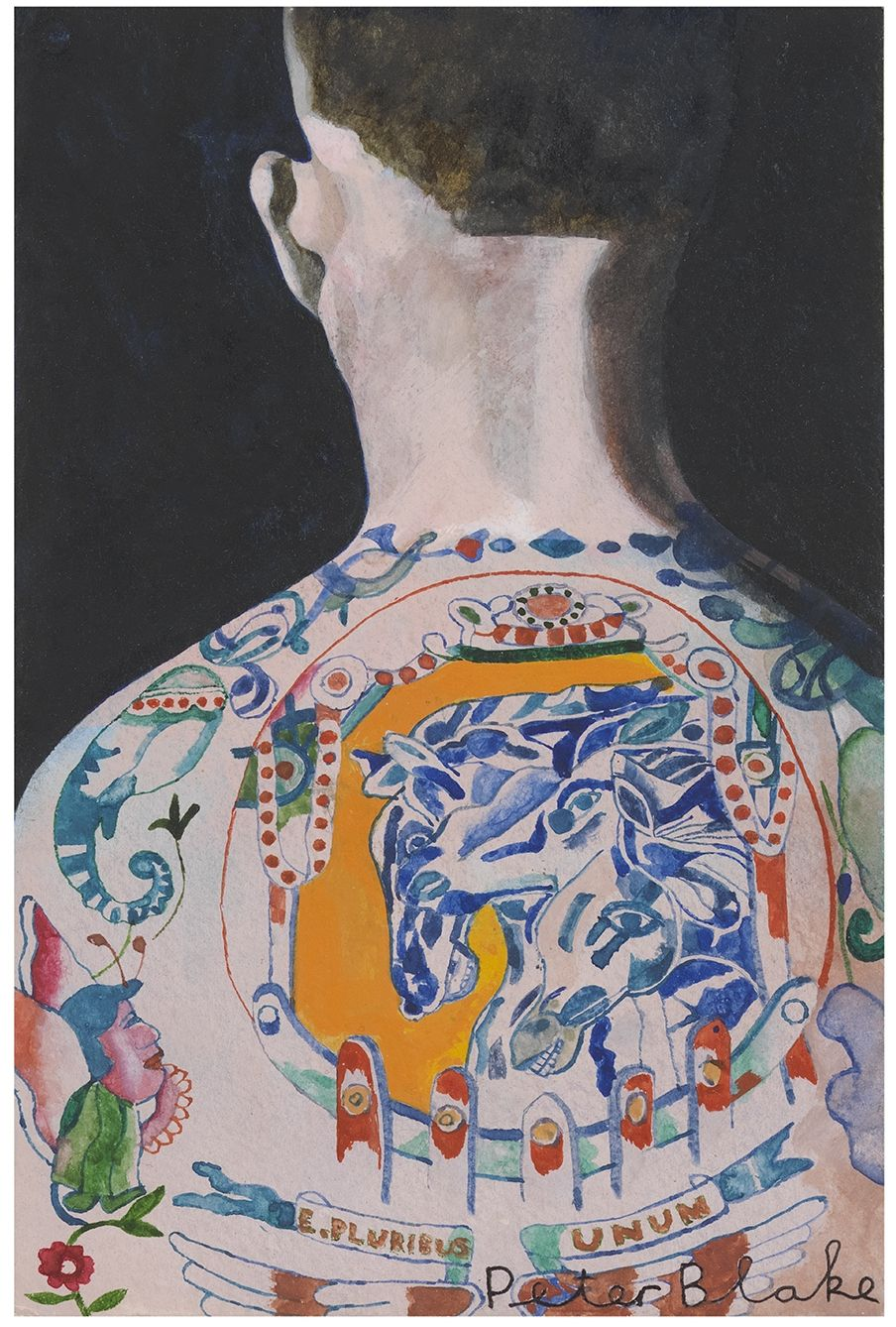 Man facing away from viewer with ornate, colorful upper back tattoo