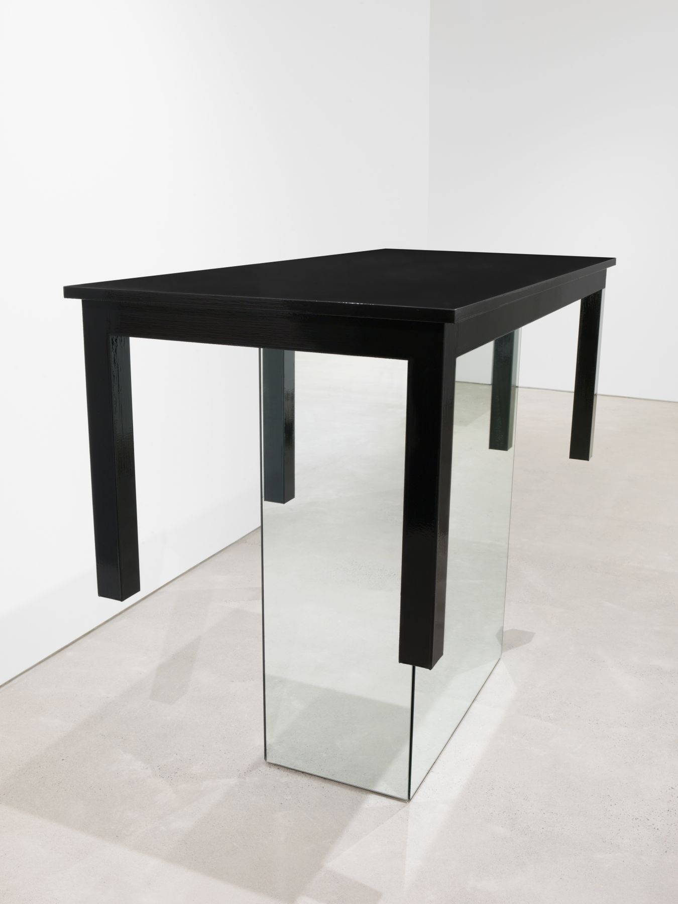 A Table with 90 Coats of Paint, 2016, Enamel on eastern maple and plywood, mirrored glass