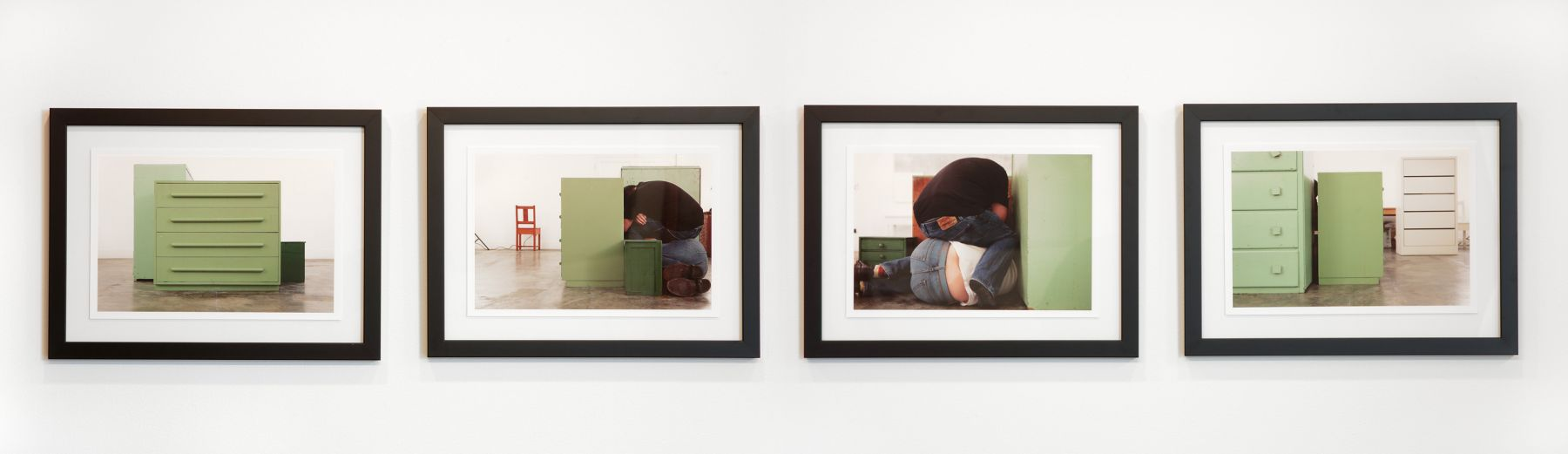 4 photographs of 4 sides of a green chest of drawers (cameras the same distance from each side) with Mike, and another green chest, 2011, Digital pigment prints
