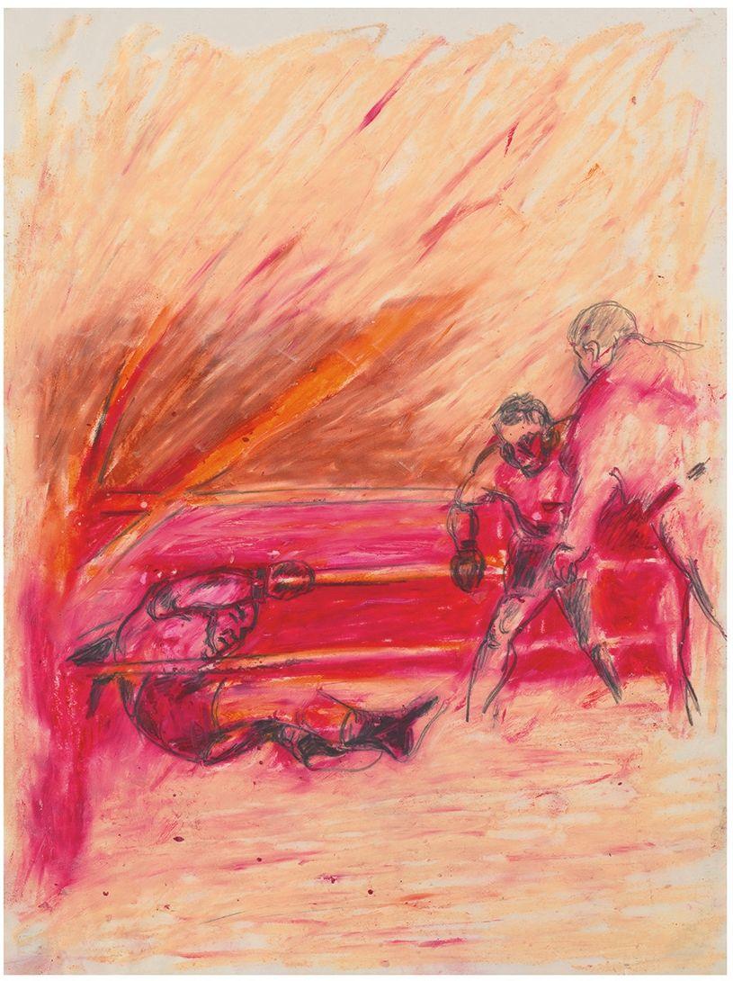 Pastel drawing of three figures in boxing ring