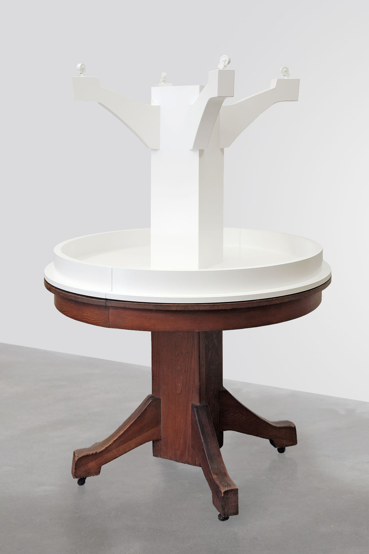 Entry Table, 2016, Enamel on eastern maple, found table