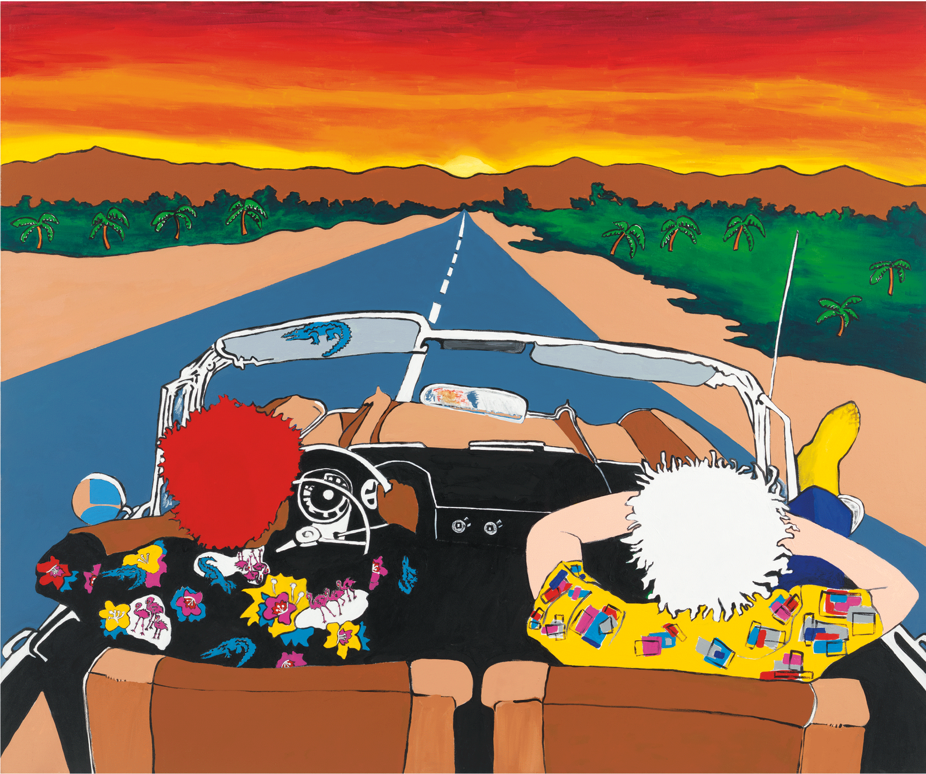 Maui Wowie (Jean-Michel and Andy Take a Trip), 1989, Acrylic and paper collage on canvas