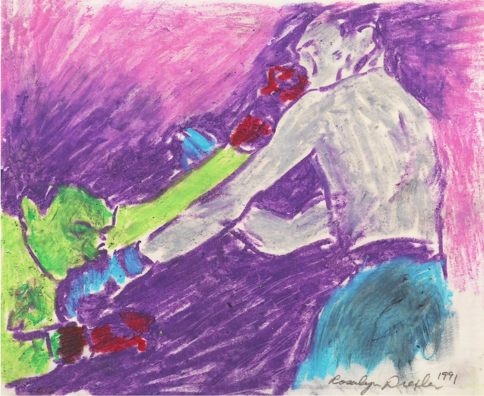 Pastel drawing of green colored boxing figure punching another figure in the face