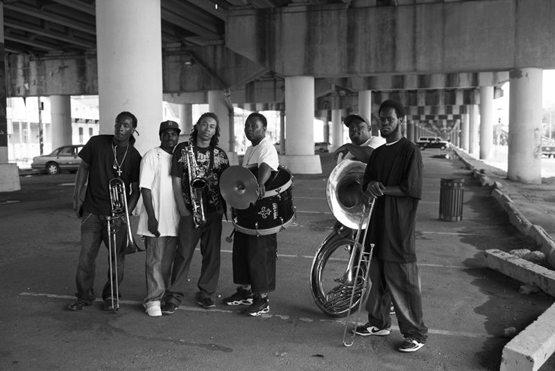 Lewis Watts  Brass Band on Claiborne Ave. in the Tremé After Playing for a Funeral, 2008       Archival pigment print  Edition 3/10  44 x 35 inches
