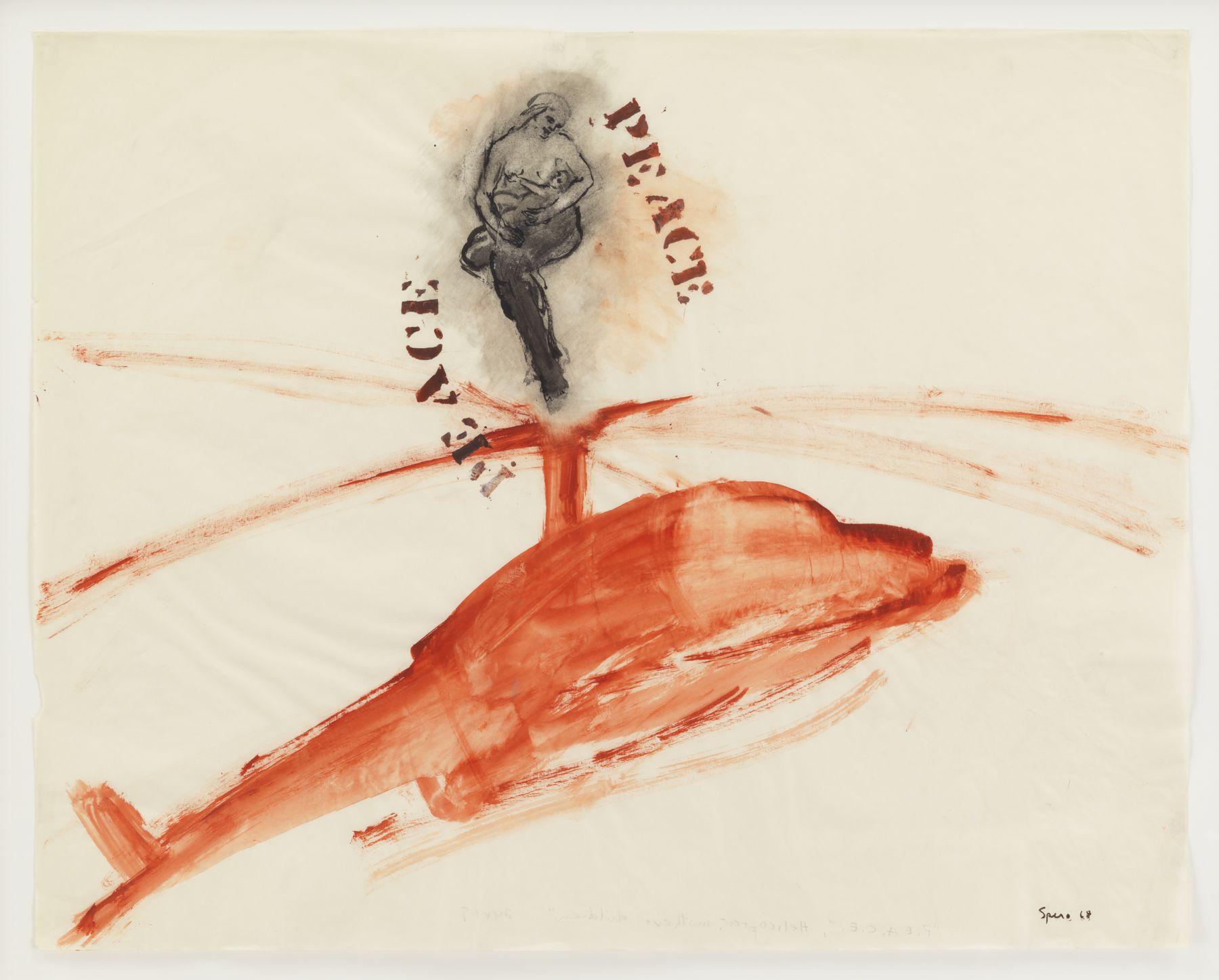 Nancy Spero, P.E.A.C.E., Helicopter, Mother + Children, 1968