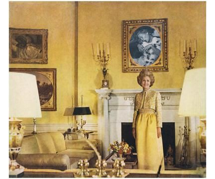 Martha Rosler, First Lady (Pat Nixon), 1972, photomontage from Bringing the War Home: House Beautiful, 1967-72
