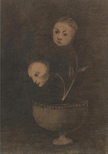 ODILON REDON Deux Fleurs a Tete Humaine dans un Vase