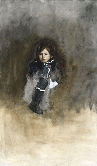 AXEL GEIS Junge mit angezogenem Bein