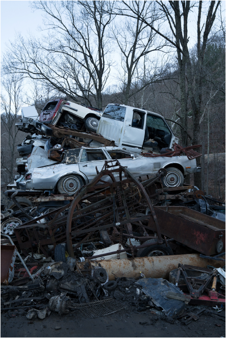 Stacy Kranitz  White Sulphur Springs, West Virginia, 2016, 2016  Archival Pigment Print  16 x 24 inches, Edition of 7  27 x 40 inches, Edition of 3, Pile of junk cars, West Virginia