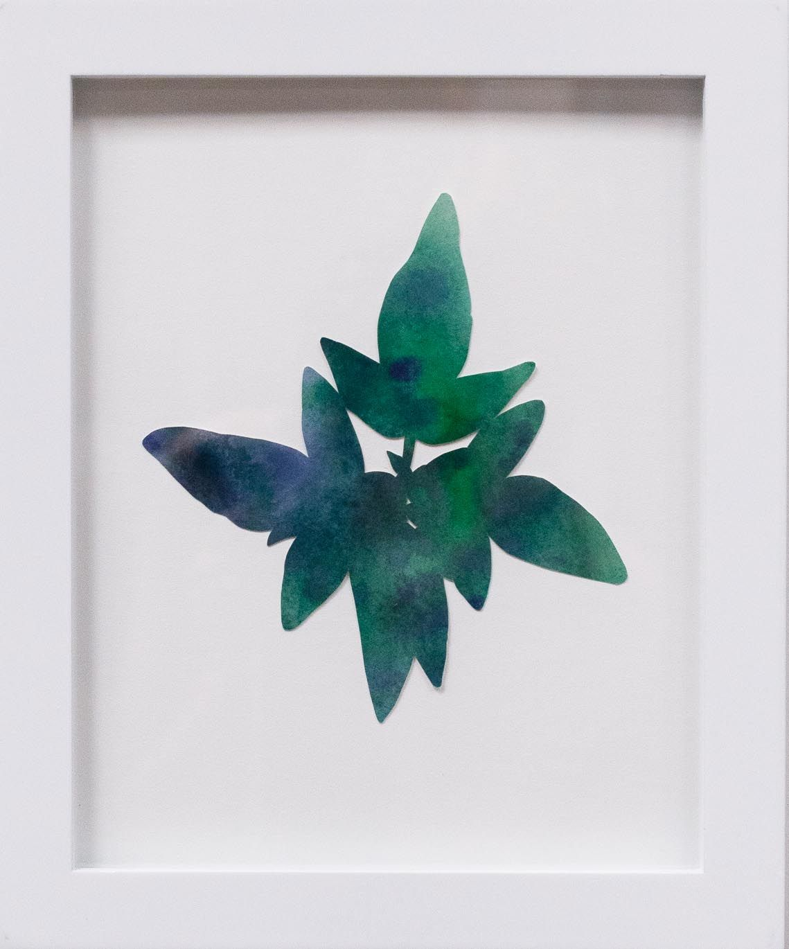 Hannah Cole  Little Green and Purple Weed, 2018  watercolor on cut paper  Framed: 10h x 8w in 25.40h x 20.32w cm  HC_050