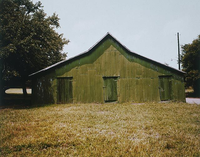 William Christenberry, Green Warehouse, Newbern, Alabama, 2001, chromogenic Brownie print, 3 1/2h x 5w in, Edition of 25, Photography