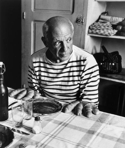 Robert Doisneau (1912-1994)  Les Pain de Picasso, Vallauris, 1952, Printed 1982  Gelatin silver print  16h x 12w in, Black and white photography, picasso