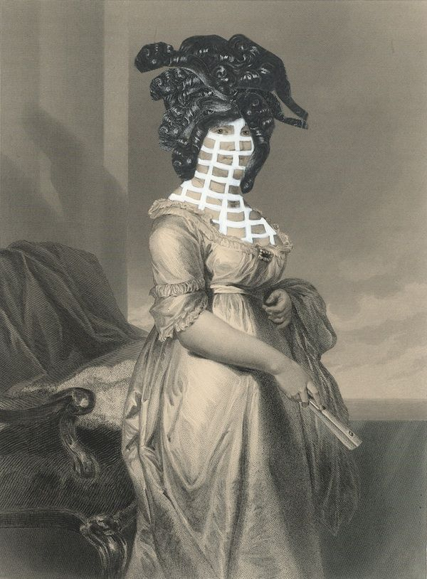 Kirsten Stolle, Mrs. Percy Dunlap 1860/2015, from the series de-identified, gouache and collage on 19th century engraving