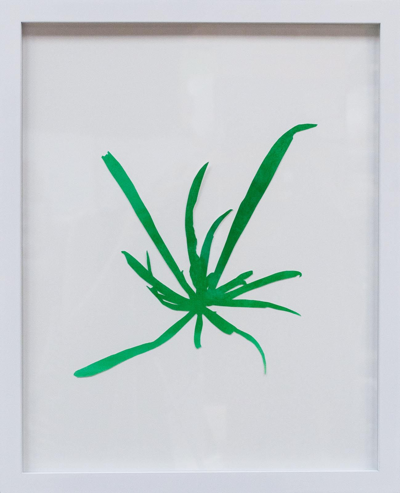 Hannah Cole  St. Augustine Grass, 2018  watercolor on cut paper  Framed: 20h x 16w in 50.80h x 40.64w cm  HC_036
