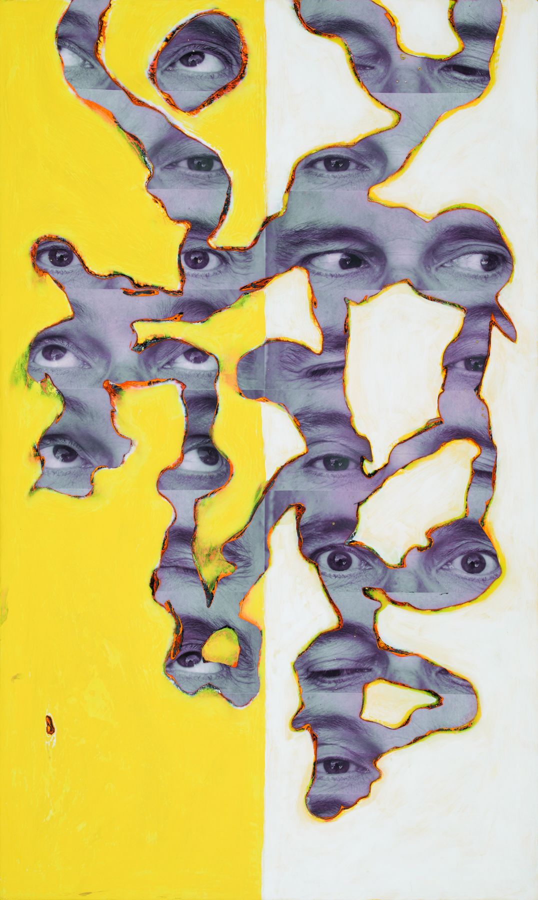Randy Shull  Yellow Gaze, 2019  inkjet, acrylic on panel  53h x 32w in
