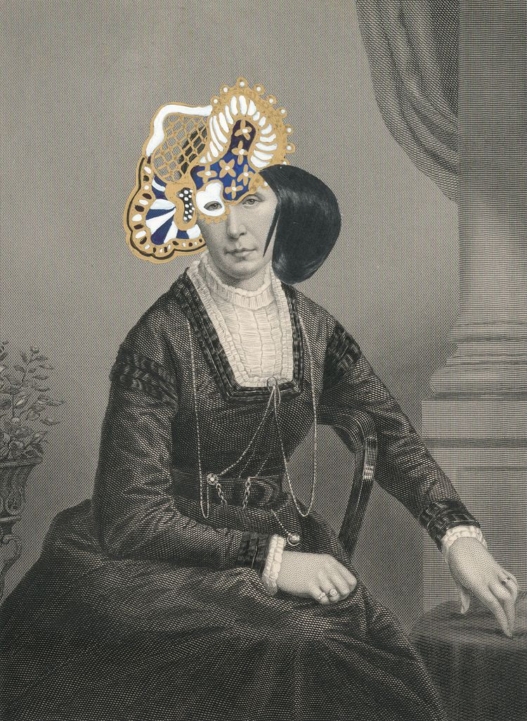 Kirsten Stolle Mrs. Edward Salisbury 1859/2014 from the series de-identified, 2014 gouache, ink, gold paint, and collage on 19th century engraving 7h x 5w in, works on paper